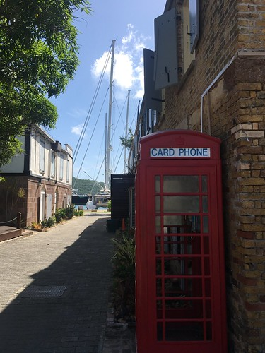 Red telephone box in Nelson's Dockyard