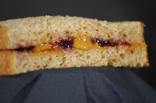 Peanut Butter and Jelly Stripes Inbetween Two Slices of Bread