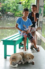 boys with dog (the foreign photographer - ฝรั่งถ่) Tags: two boys sleeping dog green bench khlong thanon portraits bangkhen bangkok thailand canon kiss