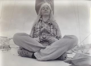 A pinhole portrait, with pinholes*, of the photographer in a tartan shirt