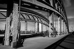 Frankfurt Osthafen (krwlms) Tags: frankfurt main germany osthafen sw black white schwarz weis cityscape skyline bridge brücke architecture architektur honsellbrücke ezb banken european central bank