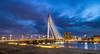 Erasmusb bridge on a warm spring evening (Siebring Photography) Tags: erasmusbridge erasmusbrug koningshaven leuvehoofd rotterdam harbor illuminated skyline zuidholland nederland nl