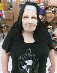 Nunning Around (PhotoJester40) Tags: indoors inside halloween mask costume nun amdphotographer female amanda posing