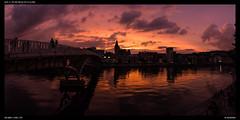 Last light over the Meuse (Falcdragon) Tags: sonya7alpha ilce7 fe2870mmf3556oss70mm sony panorama sunset sky colour river meuse reflection passerellesaucy liege liège luik