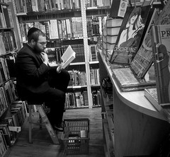 The Discipline (czolacz) Tags: bookstore reading sitting contemplating jew jewish hasidic study comix comicbooks thediscipline beard glasses kepah