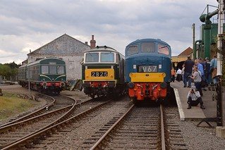 East Dereham Line up - left to right, resident Class 101 DMU, West Somerset visitor Hymek D7017 and D182 (46045) visiting from the Midland Railway Centre. Autumn Diesel Gala 08 09 2016