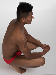 Ashwin (PhotoMechanic.uk) Tags: male man guy dude youth model pose photoshoot studio shirtless topless speedo speedos swimming trunks swimmer swimwear diver red body physique muscle muscular masculine foot feet barefoot squat squatting