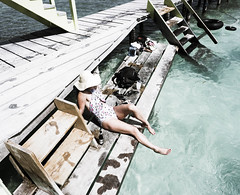 Travel Belize (KimberlyDurkee) Tags: beach ocean water girl hat dock aqua swim travel culture belize palm
