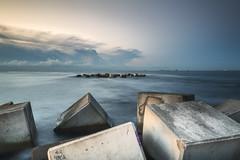 Amanecer en BCN_2017 (Enric Tarrago) Tags: sea nature beach water sky coastline pier outdoors blue jetty nauticalvessel summer landscape tranquilscene harbor cloudsky scenics nopeople sunset