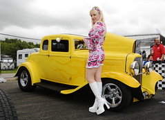 Jackie_5595 (Fast an' Bulbous) Tags: girl woman hot sexy pinup model blonde hair boots psychadelic dress legs car vehicle automobile custom hotrod classic oldtimer santapod dragstalgia showshine people outdoor mature milf