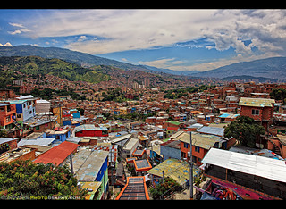A view of Medellin, Colombia from the Escalas Electricas in Comuna 13