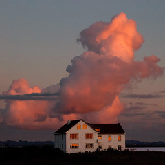 Vespertine (Arni J.M.) Tags: vespertine house clouds windows reflection sky sunset bay mountains reykjavik iceland