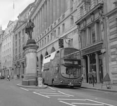 Greathead - Medium Format (DH73.) Tags: james henry greathead statue royal exchange cornhill bank tower transit volvo b9 vn36126 bj11duy london buses bus mamiya c220 80mm lens ilford delta 100 foma fomadon r09 9min 125 68°f