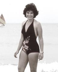 Vintage Valerie, 1980 (clarkfred33) Tags: clearwaterbeach beach ocean onepieceswimsuit swimwear blackswimsuit vintage vintagephoto smile wetfun wetadventure 1980 attraction addiction water swim spirit