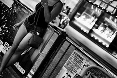 Hong Kong butterfly (Rob₊Lee) Tags: street people rail smoke smoking summer curb side shops window girl shorts singlet hongkonggirls cigarette gongnui 港女