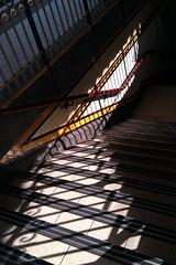 IMAG0302 [ps] - Ploughing On (Anyhoo) Tags: anyhoo photobyanyhoo australia melbourne vic victoria flindersstreet flindersstreetstation flindersstreetrailwaystation railwaystation shadow repetition stairs steps railing overlap urban phonecam