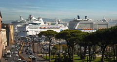Traffic in Naples (petrk747) Tags: naples napoli portofnaples mediterraneansea mediterraneancruise italy panorama travelling seaport seacoast traffic sea cruise ship ships holidaydestination holiday vacation boat outdoor harbour saariysqualitypictures