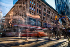 Chaos (Paul Flynn (Toronto)) Tags: longexposure nd filter long exposure city toronto downtown traffic people ttc streetcar motion blur department store shopping