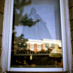 (patrickjoust) Tags: 120 6x6 medium format chrome slide e6 color reversal expired discontinued film manual focus analog mechanical patrick joust patrickjoust united states north america estados unidos urban street city fujifilm gf670 fujichrome astia 100f rangefinder baltimore maryland md darth vader poster row house home window reflection hampden