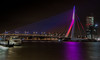 Bridge at night with blue purple and red lights (CapMarcel) Tags: the erasmus bridge rotterdam night with blue purple red lights special ocassion due an upcoming event this week flickrunitedaward