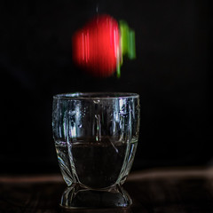 Spinning (gks18) Tags: stopmotion water strawberry canon 85mm lightroom nik stilllife food motion glass gravity