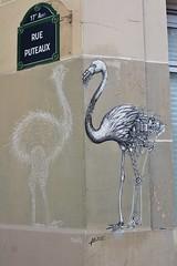 Matt Thieu + Ardif_3177 rue Puteaux Paris 17 (meuh1246) Tags: streetart paris mattthieu ardif rueputeaux paris17 animaux oiseau flamantrose autruche