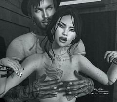 """If you are lucky enough to find a weirdo, never let them go…."" :D (Roy Mildor - I am how I am !) Tags: roymildor sl secondlife profile couple love funny naked boobs rmartofposes protecting"