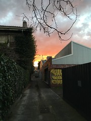 (sqrlysqrl) Tags: iphone melbourne clouds sunset house sky alley orange gradient