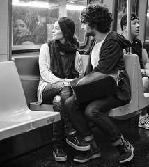 I can catch the moon in my hand (mkc609) Tags: nyc subway couple fuji xt2 blackwhite bw acros 70s scarf hope brooklyn street streetphotography blackandwhite urban candid newyork newyorkcity