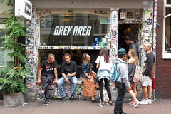 A sunny day in Amsterdam (daaynos) Tags: amsterdam greyarea people young backpack backpacker stickers graffiti tourist colors colours boys girls man woman hotspot canabis hash indica sativa conservations streetlife streetportrait holland netherlands streetshot wiet weet grass