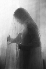 Silence (laura makabresku) Tags: lauramakabresku laura makabresku dark darkness bird women old mystic light