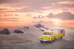 Road Trippin' (Lisa Bell Jamison) Tags: beach beetle vw volkswagen roadtrip vacation sand dunes sunset pink yellow clouds