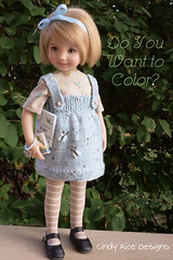 """Do You Want to Color?"" made for the Little Darlings. (Cindy Rice Designs) Tags: effner doll littledarlings dress pinafore jumper knit"