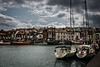 Mouth of the Wey (The Frustrated Photog (Anthony) ADPphotography) Tags: boat category dorset england flickrpost places seascape transport travel weymouth river rivermouth transportation riverfront watercourse harbour wharf quay quayside canon1585mm canon70d canon sky clouds greyclouds cloudysky terrace terracedhouses travelphotography town skyline