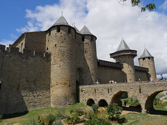 The Inner Walls (CentipedeCarpet) Tags: panasonic gx8 micro four thirds france carcassonne walls castle 1235mmf28 blueskies blue clouds beautiful beauty medieval sky sunny partly cloudy