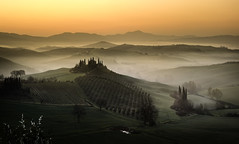 The golden hills (Massetti Fabrizio) Tags: sunrise sun sunlight siena sanquirico phaseone pienza panorami iq180 rodenstock landscape landscapes light giallo gold hills rural eritage fog tree