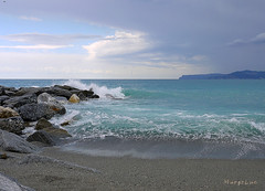 Seascape on  a Cloudy Day ... (MargoLuc) Tags: sea liguria italy summer waves blu infinity cloudy day mood stones clouds sky landscape beach holiday