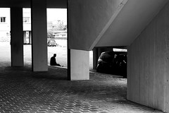 The wait (pascalcolin1) Tags: paris13 homme man lumière light ombres shadows attente wait colonnes columns photoderue streetview urbanarte noiretblanc blackandwhite photopascalcolin