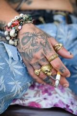Dharamsala040 (Bobby's Road Photography) Tags: hands mains people street tattoo ink ring jewels jewelery punk cannabis ganja trend fashion jean bracelet cigaret skull