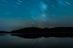 Playing with Bulb (langdon10) Tags: canada canon70d nighttime novascotia ponukelake startrails stars longexposure outdoors reflections