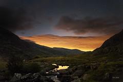 The Night Before The Midges! (Geoff Moore UK) Tags: night cloud lightpolution moutains hill darkclouds stars water lake stream waterfall llynidwal