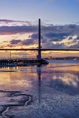 The Queensferry Crossing at Twilight (MilesGrayPhotography (AnimalsBeforeHumans)) Tags: architecture a7ii 2870 sonyfe2870mmf3556oss sonya7ii southqueensferry portedgar britain bridge queensferrycrossing boats cablestayedbridge tower dusk europe evening fe f4 glow historic harbour iconic ilce7m2 kingdomoffife landscape lens longexposure le lothians westlothian nighfall outdoors oss photography photo portrait queensferry tranquil reflections river scotland skyline sky scenic sunset summer sony sonyflickraward town twilight uk unitedkingdom village waterscape water