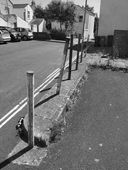 bollards (chrisinplymouth) Tags: bollard urban plymouth devon england uk cw69x streetfurniture streetmetal black white grayscale xg 2017 city