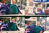 Shriner portraying Barney (with Bugs and Elmer) (jfpj) Tags: shriner parade 4thofjuly cartooncharacter barney bugsbunny elmerfudd redwoodcity california film fuji fuji400film lowresolution 35mm plasticcamera plasticlens plastic toycamera nickelodeanphotoblaster itsnotacapture