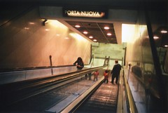 Up and Down (filippobartolucci) Tags: torino turin italy italia metro underground europe europa film rollei fuji analog camera colors superia xtra 400 iso 35t old scale stairs street people