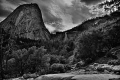 A Wondrous View of Liberty Cap and Nevada Fall (Black & White, Yosemite National Park) (thor_mark ) Tags: nikond800e day5 triptopasoroblesandyosemite yosemitenationalpark lookingeast capturenx2edited colorefexpro silverefexpro2 blackwhite outside trees hillsideoftrees blueskieswithclouds nature landscape nevadafall waterfalls waterfall mercedriver river mountains mountainsindistance mountainsoffindistance pacificranges sierranevada yosemiterittersierranevada centralyosemitesierra yosemitevalley johnmuirtrail morninghiketovernalfall libertycap betweenvernalfallandnevadafall project365 california unitedstates