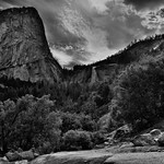 A Wondrous View of Liberty Cap and Nevada Fall (Black & White, Yosemite National Park) thumbnail