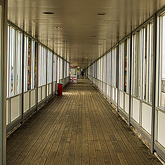 The 1Km Corridor (Brian Travelling) Tags: 1km windows straight corridor wood wooden floor reflection pentaxkr pentax