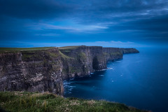 Blue Hour over the tall Cliffs of Moher (Timothy Gilbert) Tags: cliffsofmoher panasonic1235mmf28x atlantic countyclare ireland cliffs panasonic coast gx8 wideangle rocks