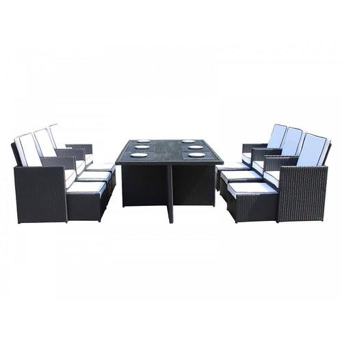 Barcelona 13 Piece Rattan Garden Cube Set in Black & Vanilla